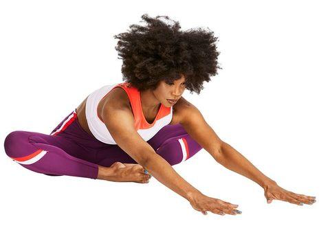 Sportswear, Arm, Joint, Shoulder, Sports uniform, Leg, Knee, Physical fitness, Exercise, Leotard,