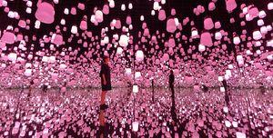 arte digital museo luces lamparas rosas tokio