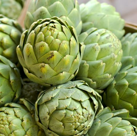 Artichoke in Baskets, Fresh Spring Vegetables at Farmer's Market