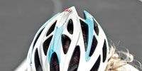 Clothing, Blue, Helmet, Sports gear, Bicycles--Equipment and supplies, Photograph, Sportswear, Bicycle clothing, Personal protective equipment, White,
