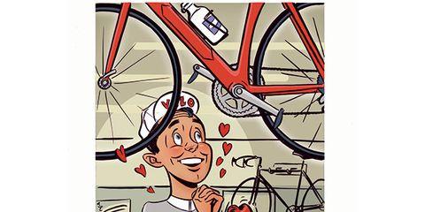 Bicycle tire, Bicycle wheel rim, Bicycle frame, Bicycle part, Bicycle, Bicycle drivetrain part, Spoke, Bicycle wheel, Crankset, Illustration,