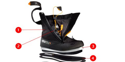Carmine, Black, Winter sport, Outdoor shoe, Costume accessory, Synthetic rubber, Graphics, Ice hockey equipment, Bicycle part, Downhill ski boot,