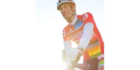 Bicycle jersey, Helmet, Bicycles--Equipment and supplies, Bicycle frame, Sleeve, Bicycle helmet, Bicycle handlebar, Bicycle, Sports equipment, Sports uniform,