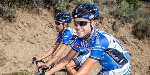 Danny Summerhill, right, rides alongside fellow cyclocrosser Chris Jones.