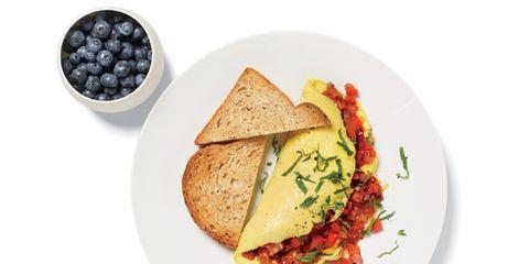 Breakfast food blueberries egg toast