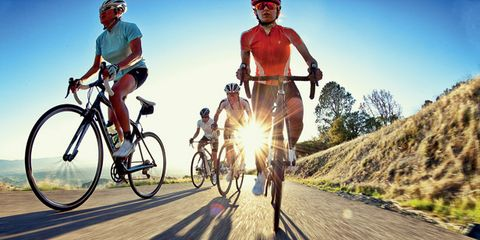 Cyclists doing interval workouts