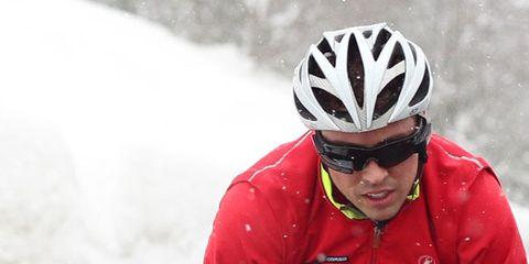 Clothing, Eyewear, Nose, Glasses, Helmet, Bicycle helmet, Jacket, Sleeve, Sports gear, Recreation,