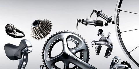 Bicycle drivetrain part, Gear, Crankset, Bicycle part, Auto part, Black-and-white, Groupset, Monochrome, Circle, Machine,