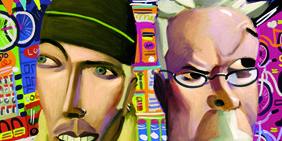 Eyebrow, Animation, Facial hair, Art, Temple, Cartoon, Animated cartoon, Painting, Illustration, Fictional character,