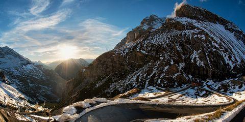 Mountainous landforms, Road, Mountain range, Natural landscape, Winter, Landscape, Slope, Highland, Mountain, Freezing,