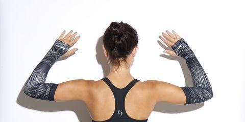 Finger, Shoulder, Elbow, Wrist, Waist, Hand, Joint, Brassiere, Chest, Undergarment,