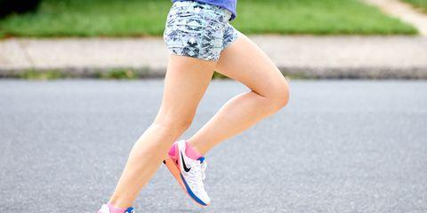 Clothing, Footwear, Blue, Green, Human leg, Shoe, Textile, Joint, White, Asphalt,