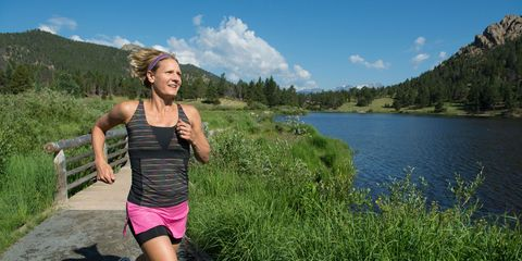 Leg, Mountainous landforms, Bank, Highland, Shorts, People in nature, Jogging, Knee, Thigh, Reservoir,