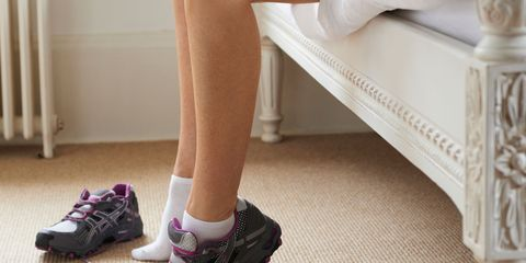 Footwear, Shoe, Human leg, Joint, White, Athletic shoe, Flooring, Floor, Carmine, Fashion,