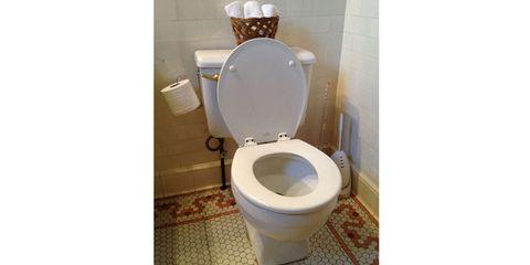 Toilet seat, Property, Toilet, Purple, Flooring, Floor, Wall, Ceramic, Paper, Plumbing fixture,