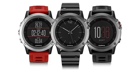 The new Fenix 3 comes in red, gray, and the premium sapphire (center), which features a scratch-resistant sapphire lens
