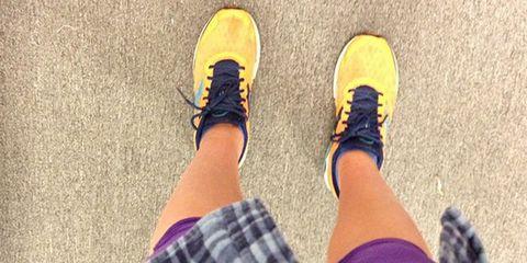 Human, Leg, Yellow, Human leg, Joint, People in nature, Tan, Street fashion, Tartan, Plaid,