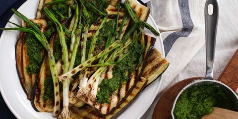 grilled eggplant and onions with parsley pesto