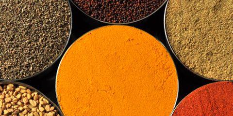 Brown, Yellow, Ingredient, Spice, Amber, Turmeric, Seasoning, Close-up, Curry powder, Circle,