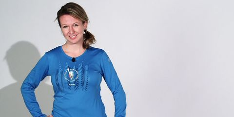 Blue, Sleeve, Shoulder, Elbow, Joint, Standing, Waist, Electric blue, Jewellery, Long-sleeved t-shirt,