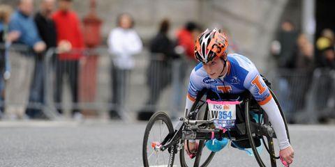 Wheelchair sports, Helmet, Wheelchair, Wheelchair racing, Bicycles--Equipment and supplies, Bicycle clothing, Bicycle helmet, Disabled sports, Sports gear, Sportswear,
