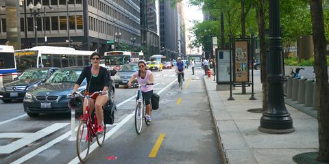 Riding in the bike lane