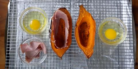 bacon egg stuffed sweet potatoes