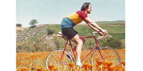 Jobst Brandt rides a bike in 1979