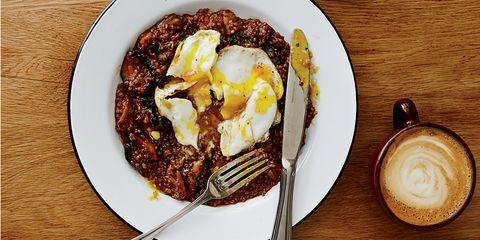 Savory Oats, Bacon, Mushrooms, Over-Easy Egg