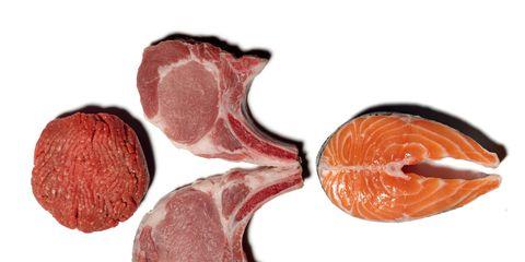 Red, Carmine, Orange, Peach, Maroon, Coquelicot, Natural material, Chemical compound, Pork,