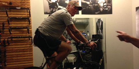 Brett Favre gets his bike fit at Mellow Johnny's in Austin, TX.