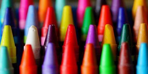 Colorfulness, Writing implement, Pink, Orange, Stationery, Carmine, Cone, Crayon, Collection, Office instrument,