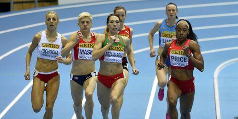 Track and field athletics, Sports uniform, Sportswear, Sleeveless shirt, Sport venue, Race track, Endurance sports, Running, Athletic shoe, Athlete,