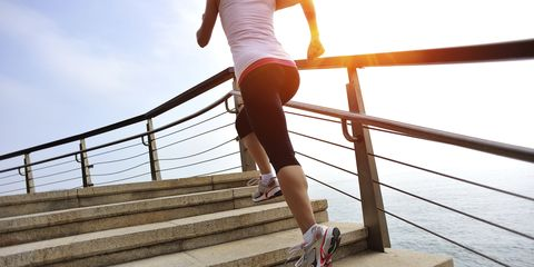 Leg, Human leg, Shoe, Stairs, Joint, Knee, People in nature, Calf, Waist, Thigh,