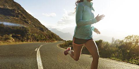 Road, Human leg, Asphalt, Road surface, Shorts, Knee, Running, Athletic shoe, Calf, Thigh,