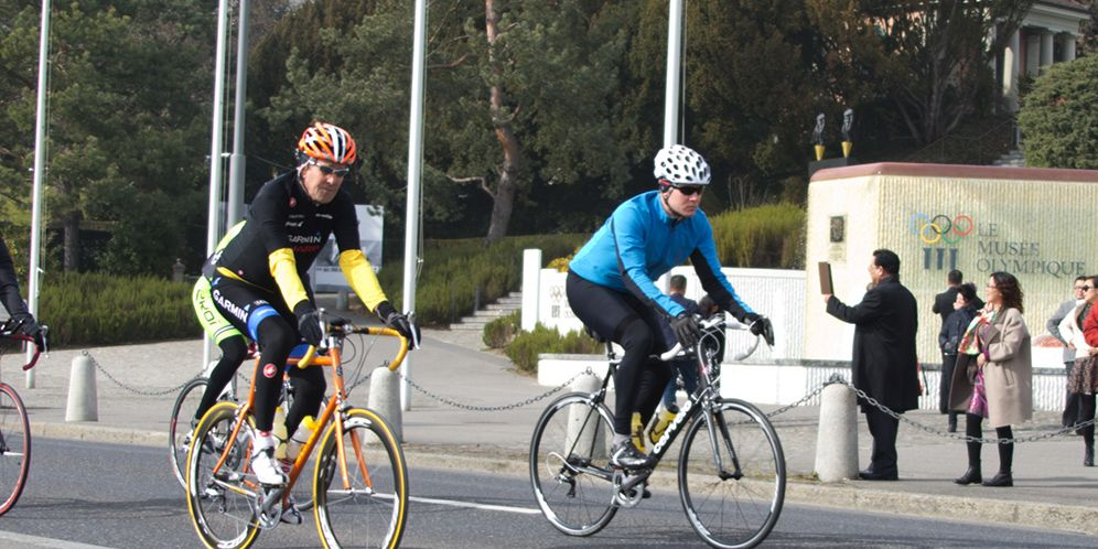 Secretary of State John Kerry riding a bike