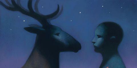 Deer, Vertebrate, Antler, Reindeer, Horn, Space, Elk, Art, Astronomical object, Terrestrial animal,