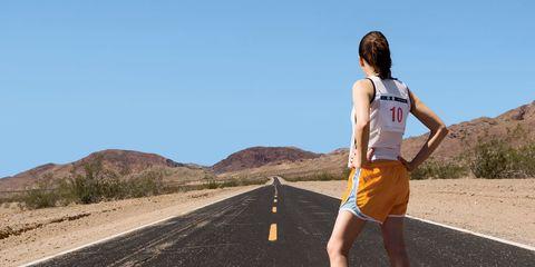 Road, Human leg, Road surface, Asphalt, Infrastructure, Sleeveless shirt, Landscape, Summer, Shorts, Knee,