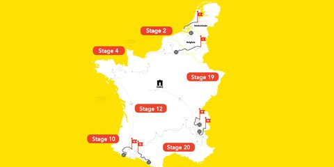 Map of the 2015 Tour de France Stages