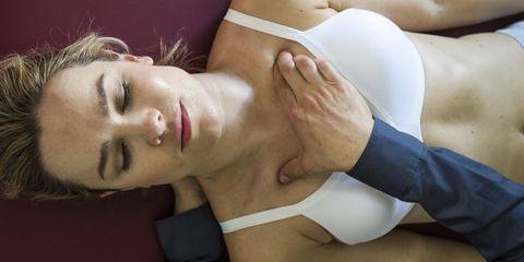 Woman lying on table