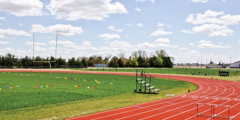 Grass, Sport venue, Line, Track and field athletics, Pole, Athletics, Athlete, Playing sports, Race track, Exercise,