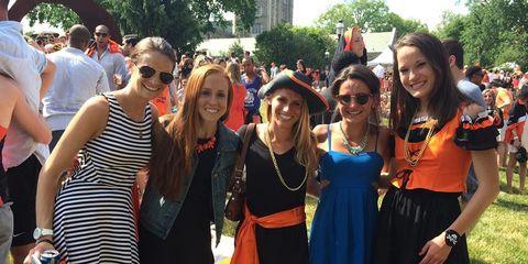 Eyewear, Smile, Dress, Crowd, Hat, Summer, Sunglasses, Fashion accessory, Day dress, Sun hat,