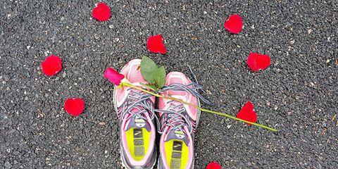 Footwear, Shoe, Red, Asphalt, Pink, Colorfulness, Athletic shoe, Carmine, Sneakers, Grey,