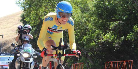 Tejay van Garderen wearing the Yellow Jersey at the Amgen Tour of California