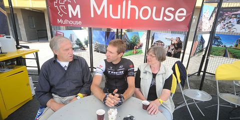 Retired cycling icon Jens Voigt relaxes with his parents at the 2014 Tour de France.