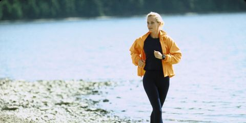 Mammal, People in nature, Jogging, Active pants, Running, Jacket, sweatpant, Street fashion, Beach, Blond,