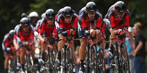 Tejay van Garderen's BMC squad competing in the team trial at the 2015 Tour de France