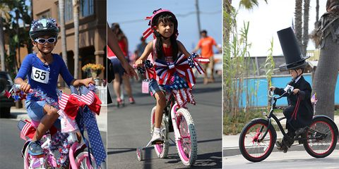Great American 4th of July Kids Bike Parade: children on decorated bikes celebrate the 4th of July