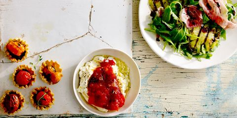 Tomato recipes for a salad, jam, and tarts