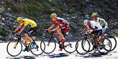 Chris Foome, Tejay van Garderen, Nairo Quintana, and Alberto Contador on Stage 10 of the 2015 Tour de France